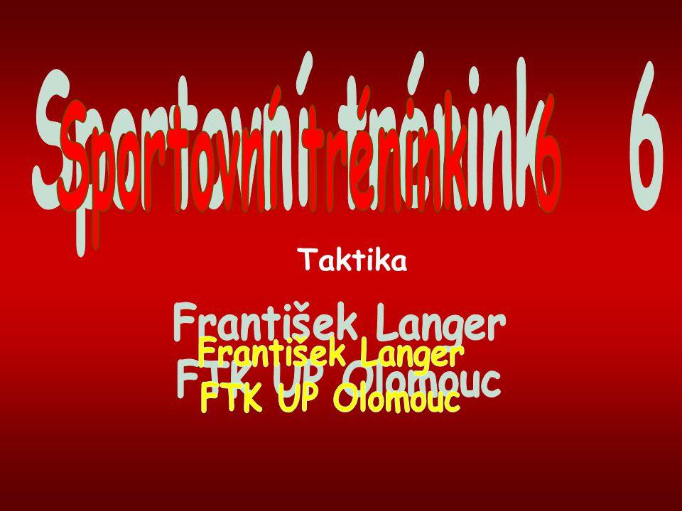 Sportovní trénink 6 Taktika František Langer FTK UP Olomouc