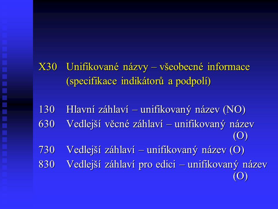 X30 Unifikované názvy – všeobecné informace