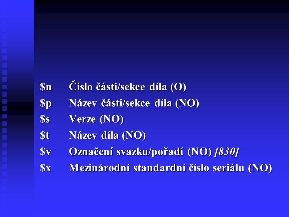 $n Číslo části/sekce díla (O)
