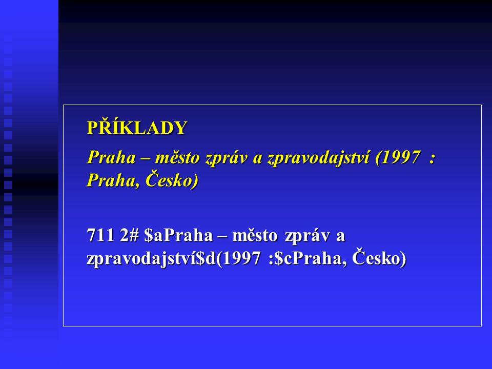 PŘÍKLADY Praha – město zpráv a zpravodajství (1997 : Praha, Česko)