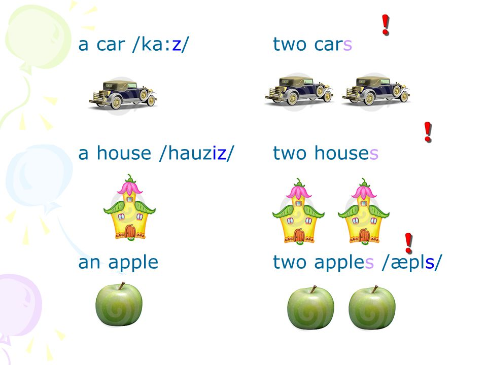 a car /ka:z/ two cars a house /hauziz/ two houses an apple two apples /æpls/