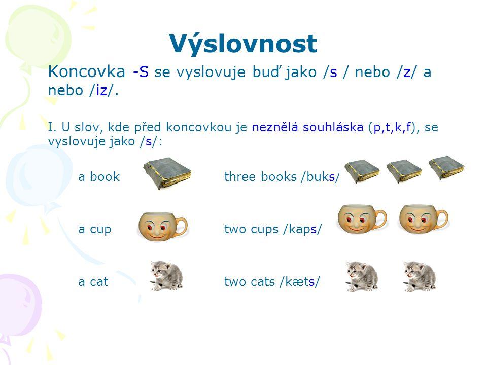 Výslovnost Koncovka -S se vyslovuje buď jako /s / nebo /z/ a nebo /iz/.