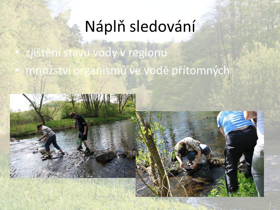 Náplň sledování zjištění stavu vody v regionu