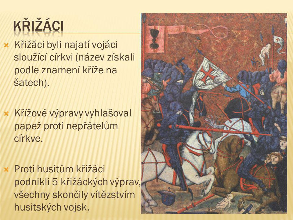 křižáci Křižáci byli najatí vojáci sloužící církvi (název získali podle znamení kříže na šatech).