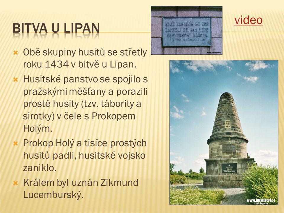 video Bitva u lipan. Obě skupiny husitů se střetly roku 1434 v bitvě u Lipan.