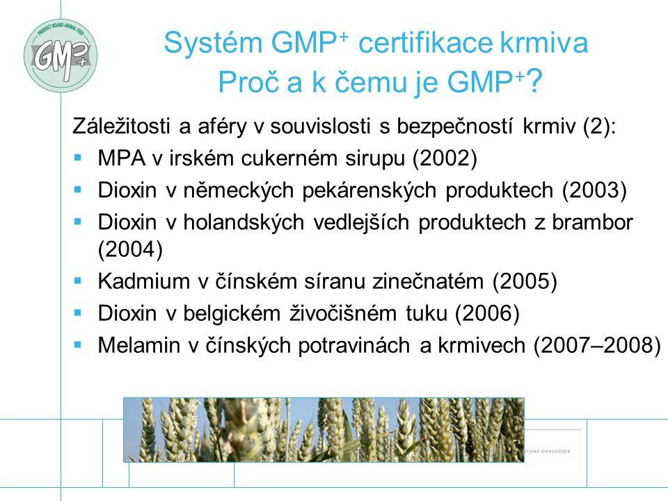 Systém GMP+ certifikace krmiva Proč a k čemu je GMP+
