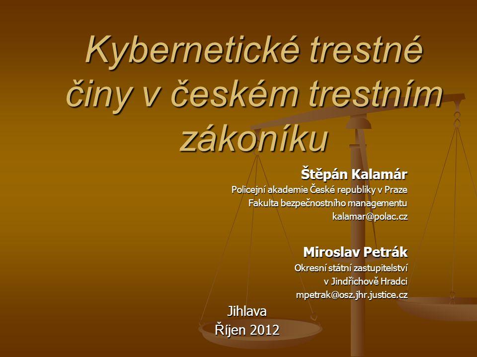 Kybernetické trestné činy v českém trestním zákoníku