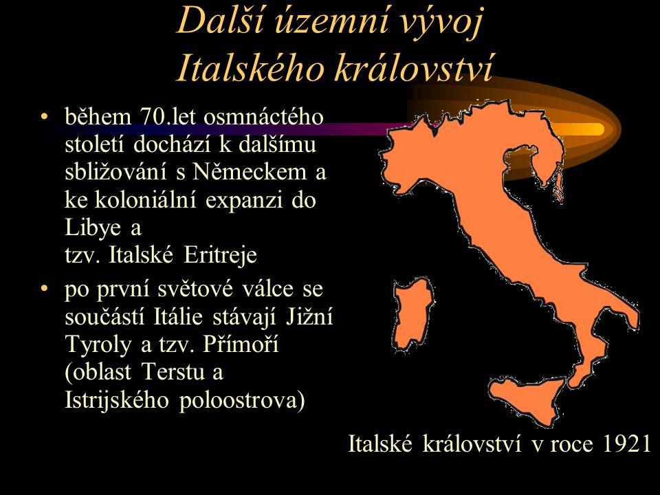 Další územní vývoj Italského království