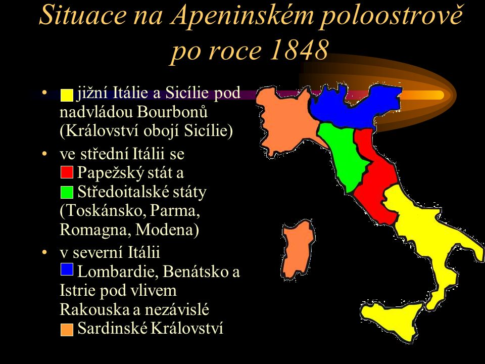 Situace na Apeninském poloostrově po roce 1848