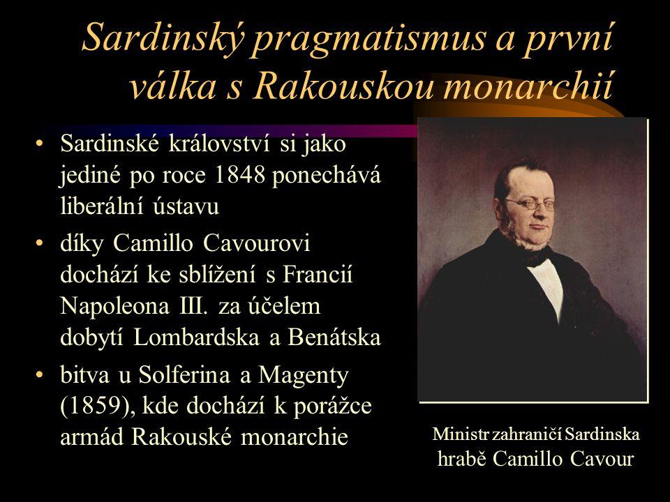 Sardinský pragmatismus a první válka s Rakouskou monarchií