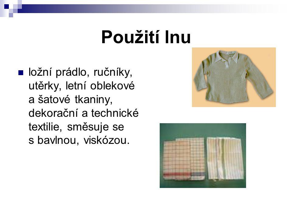 Použití lnu ložní prádlo, ručníky, utěrky, letní oblekové a šatové tkaniny, dekorační a technické textilie, směsuje se s bavlnou, viskózou.