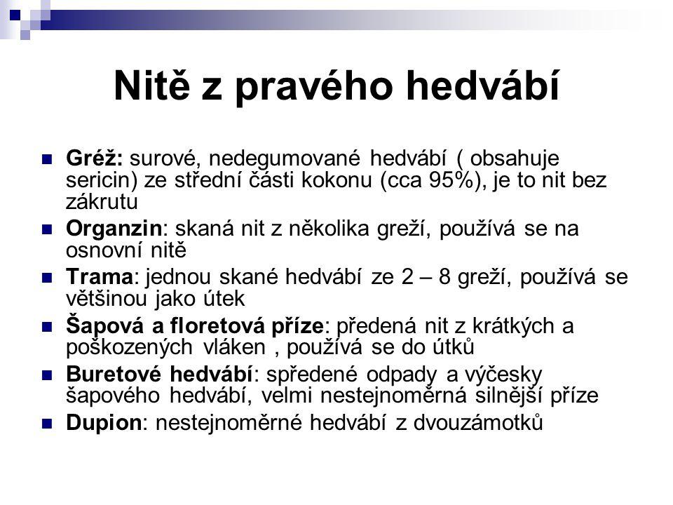 Nitě z pravého hedvábí Gréž: surové, nedegumované hedvábí ( obsahuje sericin) ze střední části kokonu (cca 95%), je to nit bez zákrutu.