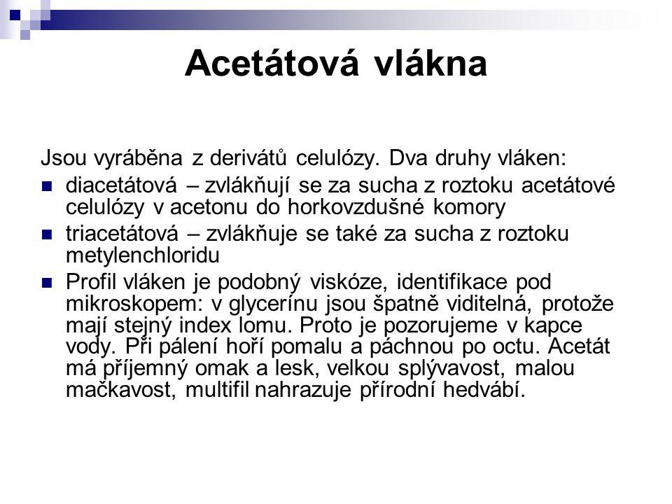 Acetátová vlákna Jsou vyráběna z derivátů celulózy. Dva druhy vláken: