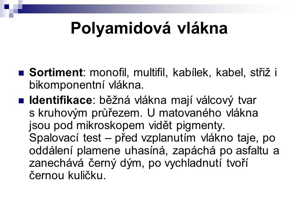 Polyamidová vlákna Sortiment: monofil, multifil, kabílek, kabel, střiž i bikomponentní vlákna.