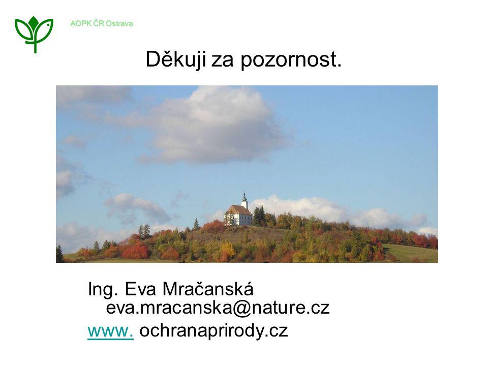 Děkuji za pozornost. Ing. Eva Mračanská eva.mracanska@nature.cz