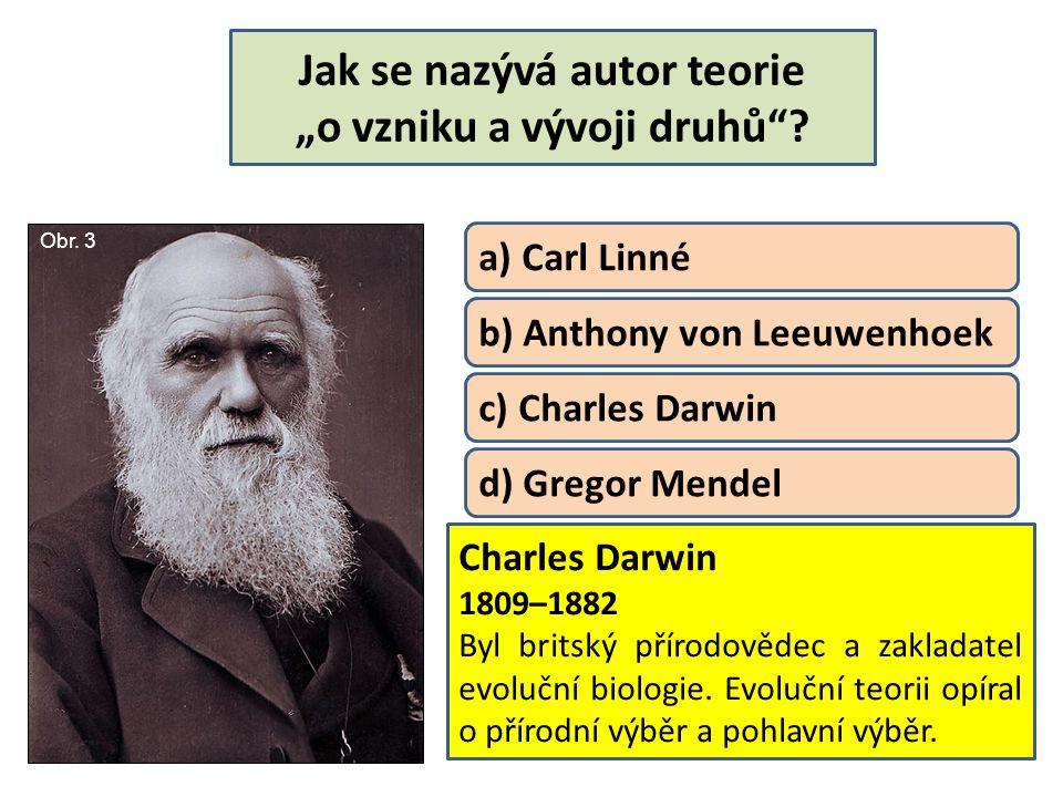 """Jak se nazývá autor teorie """"o vzniku a vývoji druhů"""