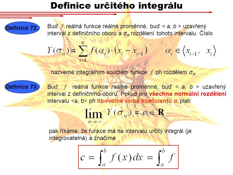 Definice určitého integrálu