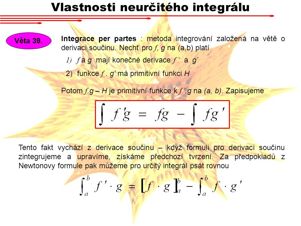 Vlastnosti neurčitého integrálu