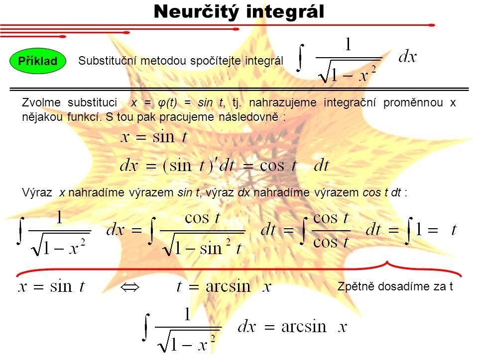 Neurčitý integrál Příklad Substituční metodou spočítejte integrál