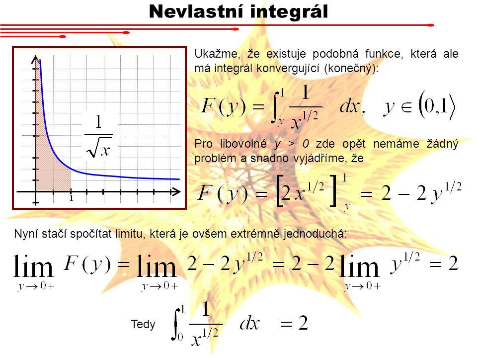 Nevlastní integrál Ukažme, že existuje podobná funkce, která ale má integrál konvergující (konečný):