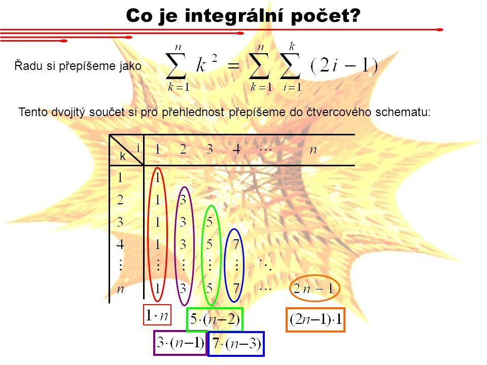 Co je integrální počet Řadu si přepíšeme jako