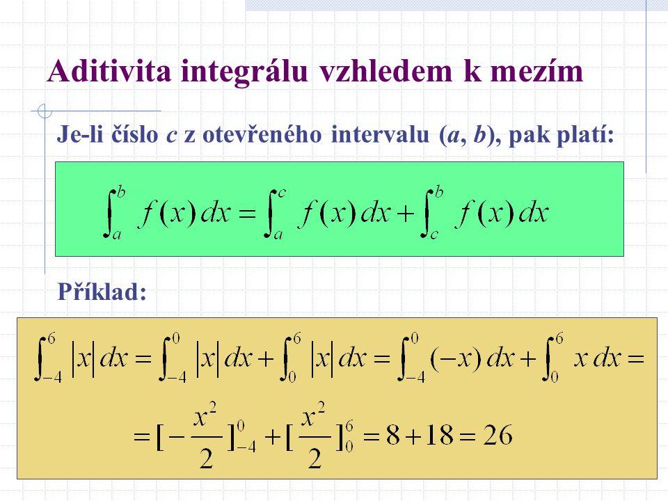 Aditivita integrálu vzhledem k mezím