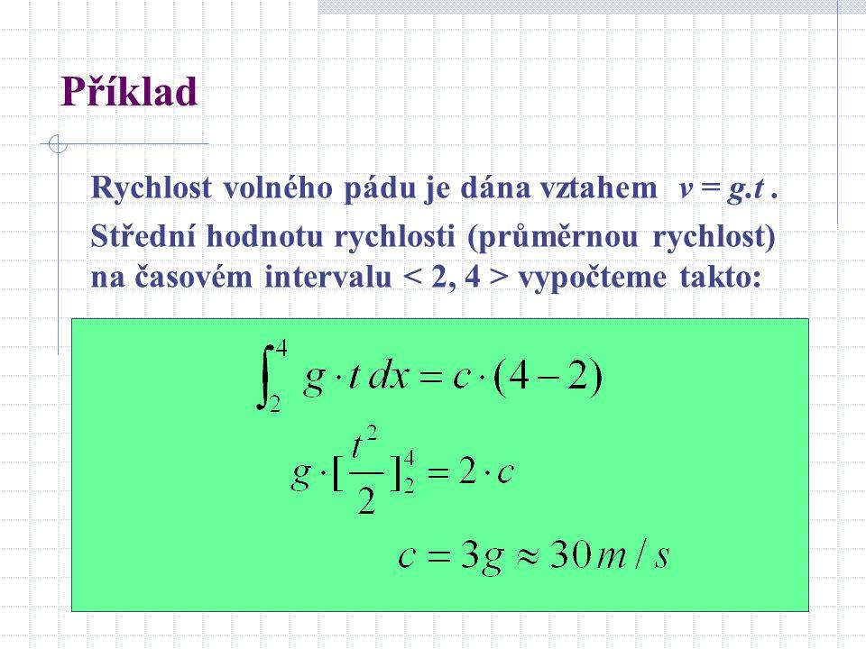 Příklad Rychlost volného pádu je dána vztahem v = g.t .