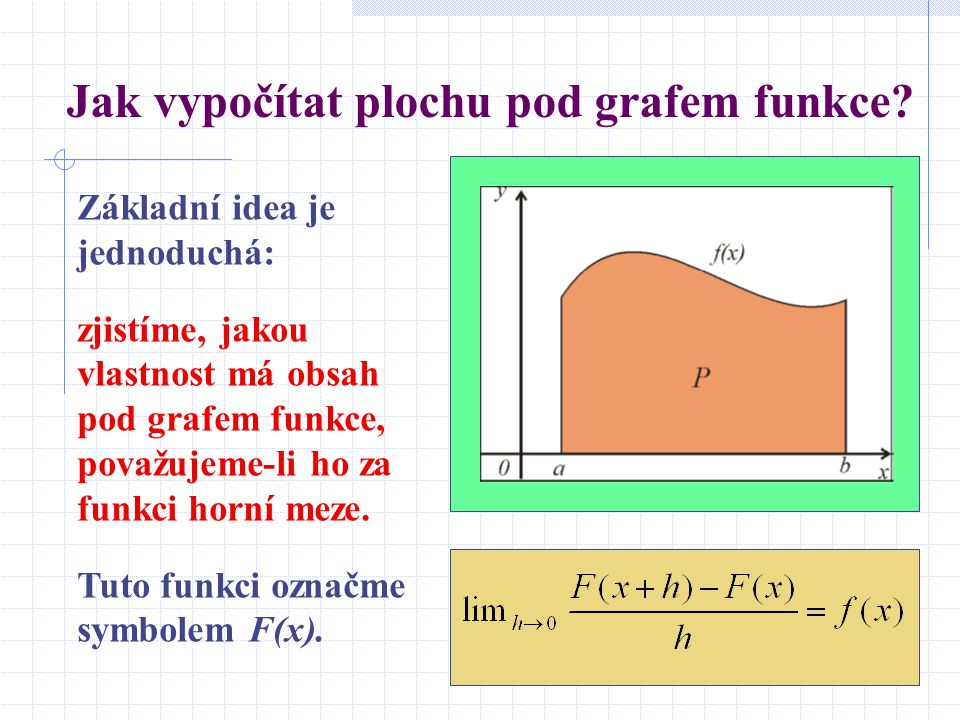 Jak vypočítat plochu pod grafem funkce