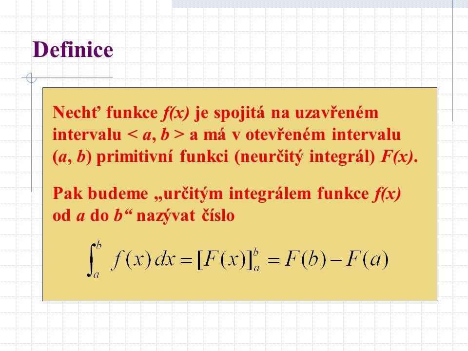 Definice Nechť funkce f(x) je spojitá na uzavřeném intervalu < a, b > a má v otevřeném intervalu (a, b) primitivní funkci (neurčitý integrál) F(x).