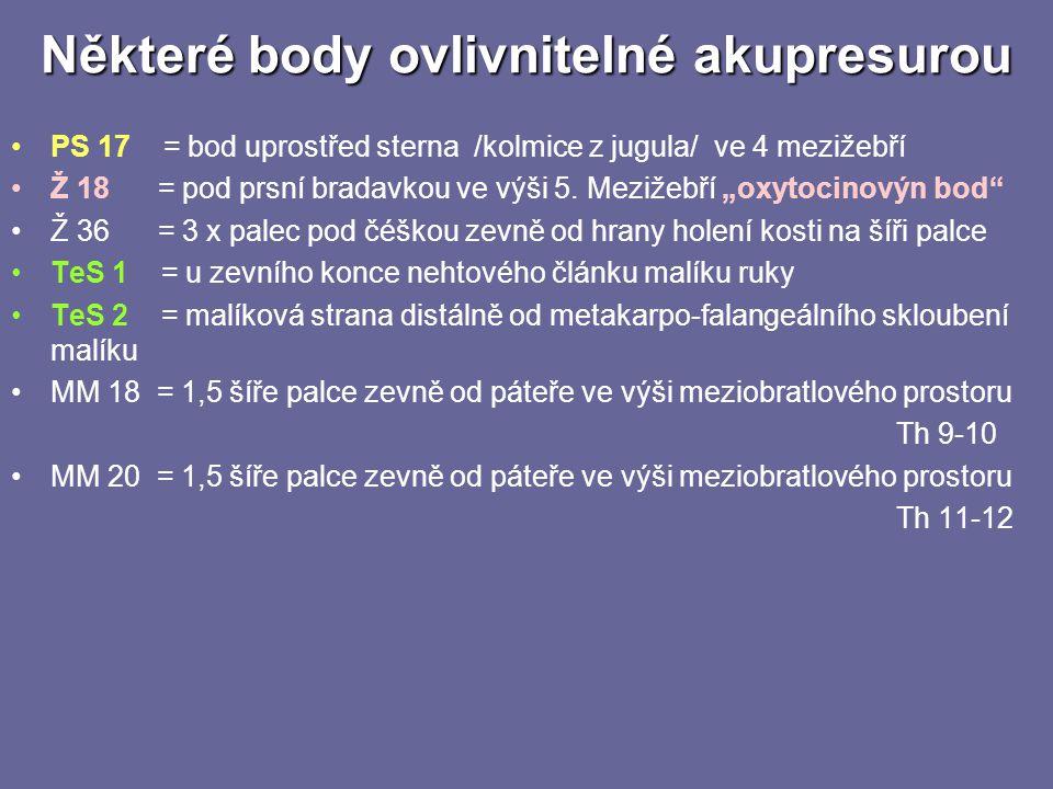 Některé body ovlivnitelné akupresurou