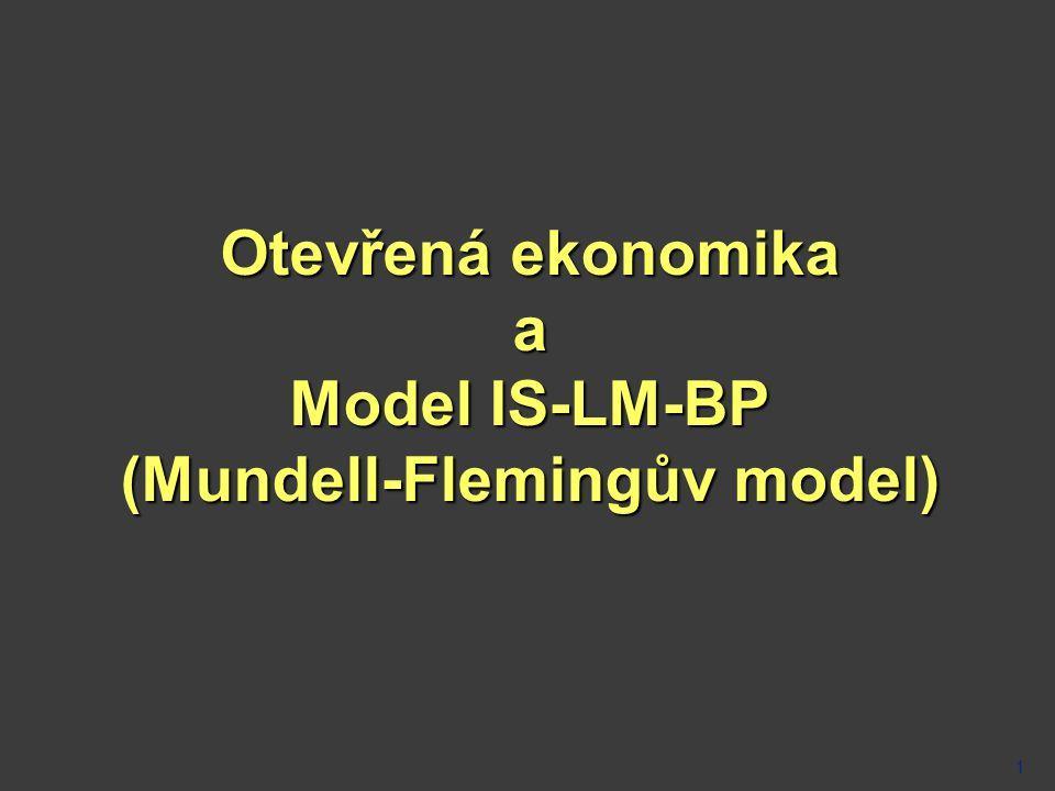 Otevřená ekonomika a Model IS-LM-BP (Mundell-Flemingův model)