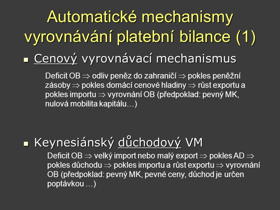 Automatické mechanismy vyrovnávání platební bilance (1)