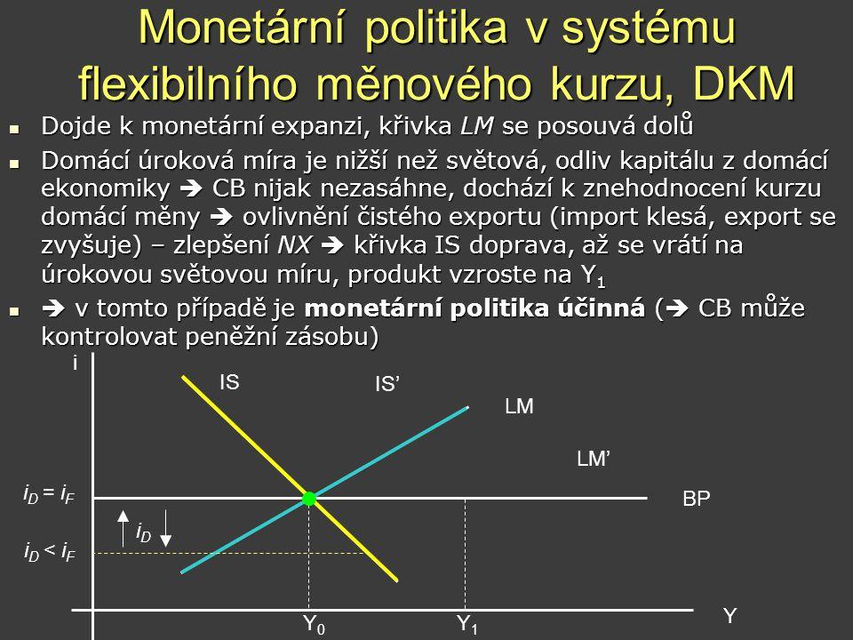 Monetární politika v systému flexibilního měnového kurzu, DKM