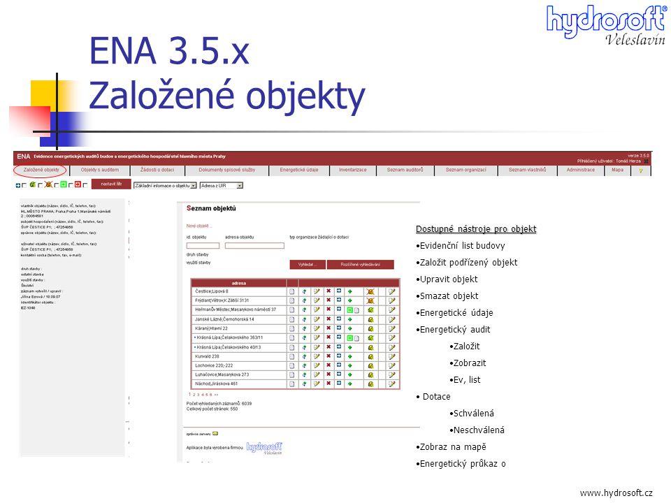 ENA 3.5.x Založené objekty Dostupné nástroje pro objekt