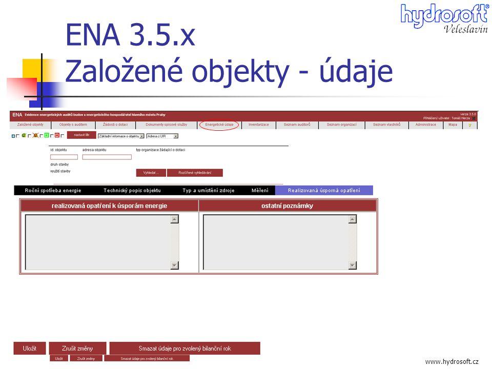 ENA 3.5.x Založené objekty - údaje