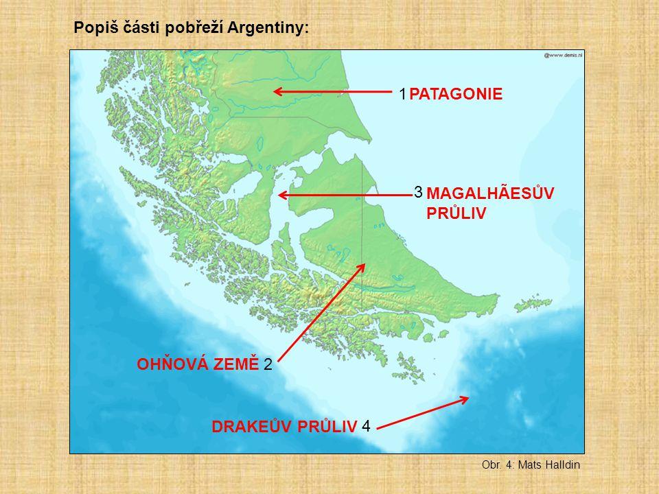 Popiš části pobřeží Argentiny: