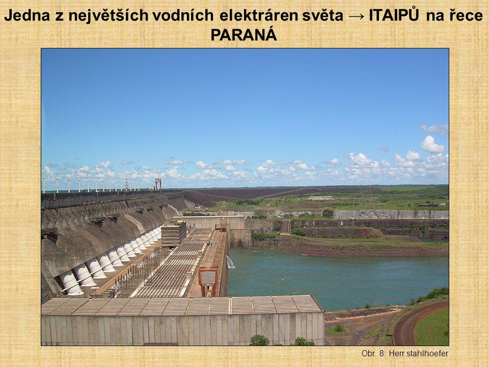 Jedna z největších vodních elektráren světa → ITAIPŮ na řece PARANÁ