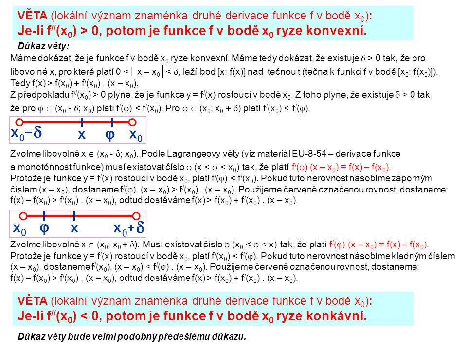 Je-li f//(x0) > 0, potom je funkce f v bodě x0 ryze konvexní.