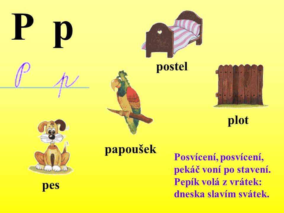 P p postel plot papoušek pes Posvícení, posvícení,