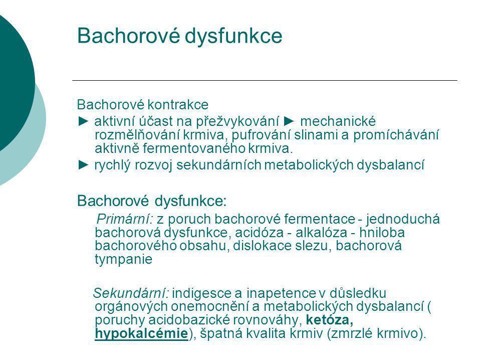 Bachorové dysfunkce Bachorové dysfunkce: Bachorové kontrakce