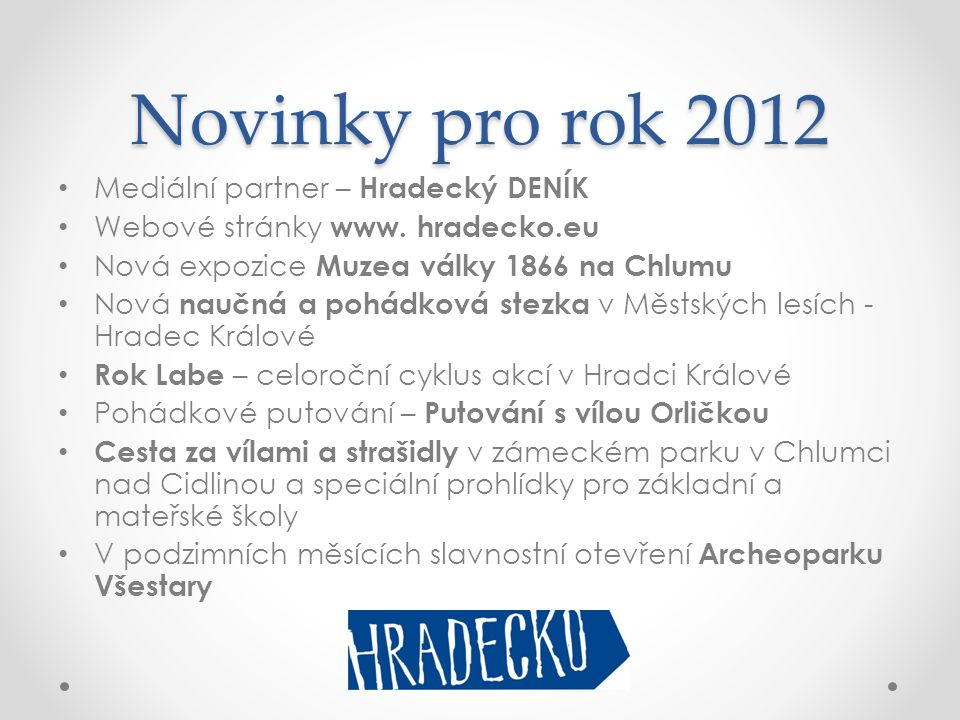 Novinky pro rok 2012 Mediální partner – Hradecký DENÍK