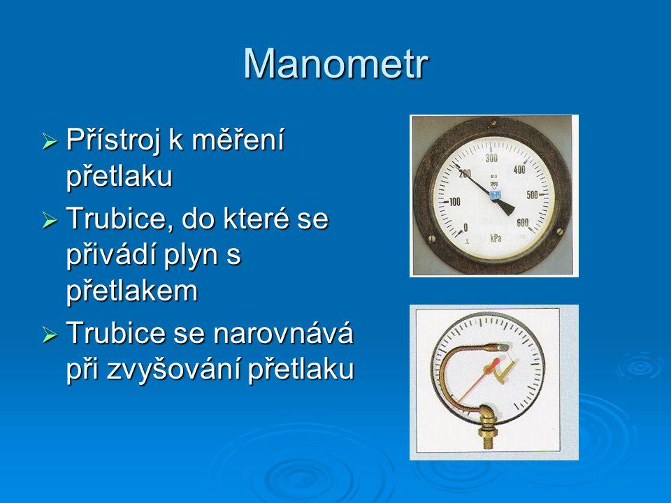 Manometr Přístroj k měření přetlaku