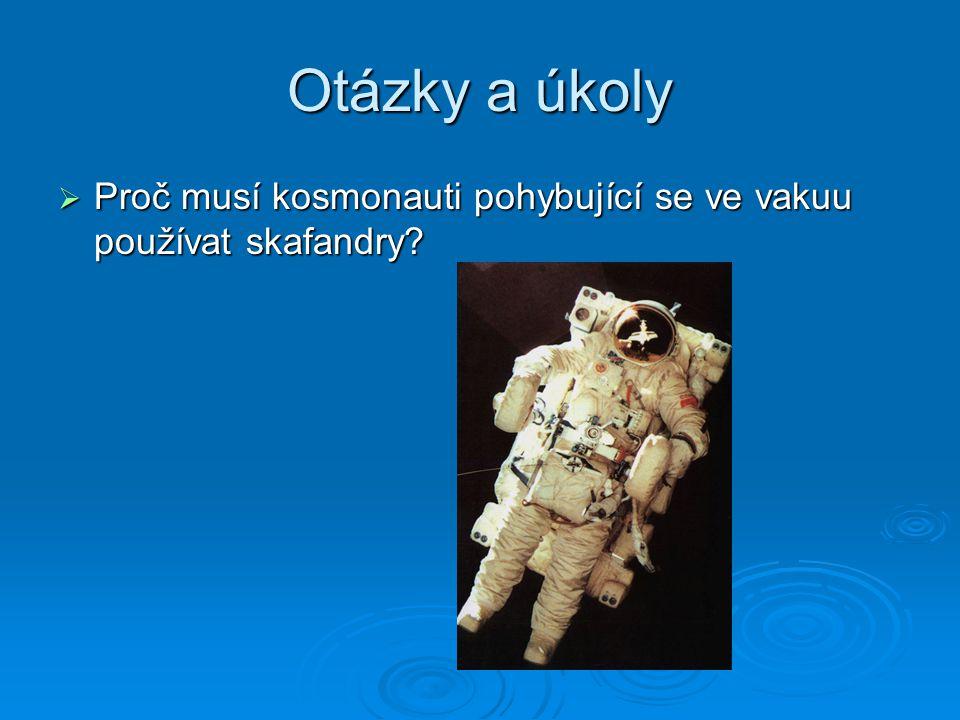 Otázky a úkoly Proč musí kosmonauti pohybující se ve vakuu používat skafandry
