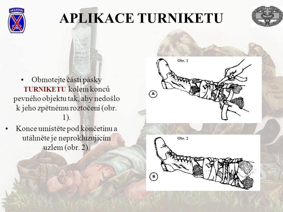 APLIKACE TURNIKETU Obr. 1. Obmotejte části pásky TURNIKETU kolem konců pevného objektu tak, aby nedošlo k jeho zpětnému roztočení (obr. 1).
