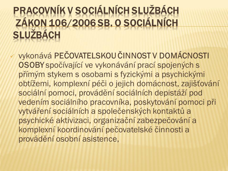 Pracovník v sociálních službách zákon 106/2006 Sb