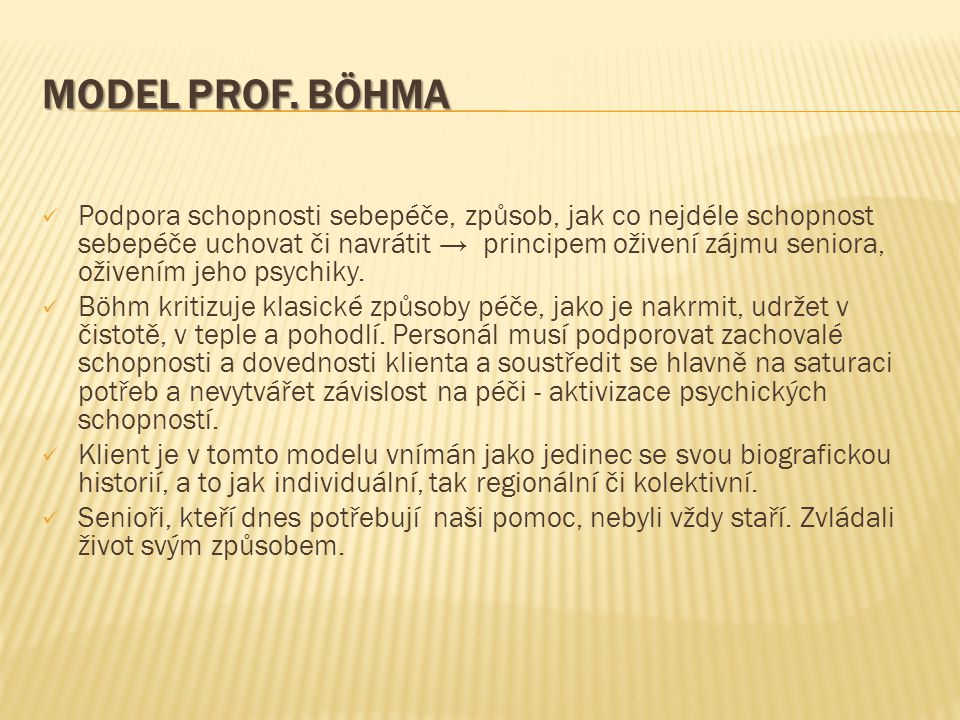 MODEL prof. BÖHMA