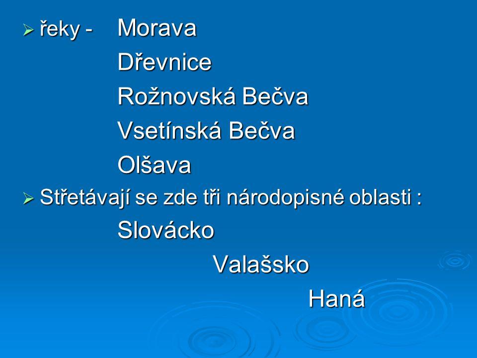 Dřevnice Rožnovská Bečva Vsetínská Bečva Olšava Slovácko Valašsko Haná