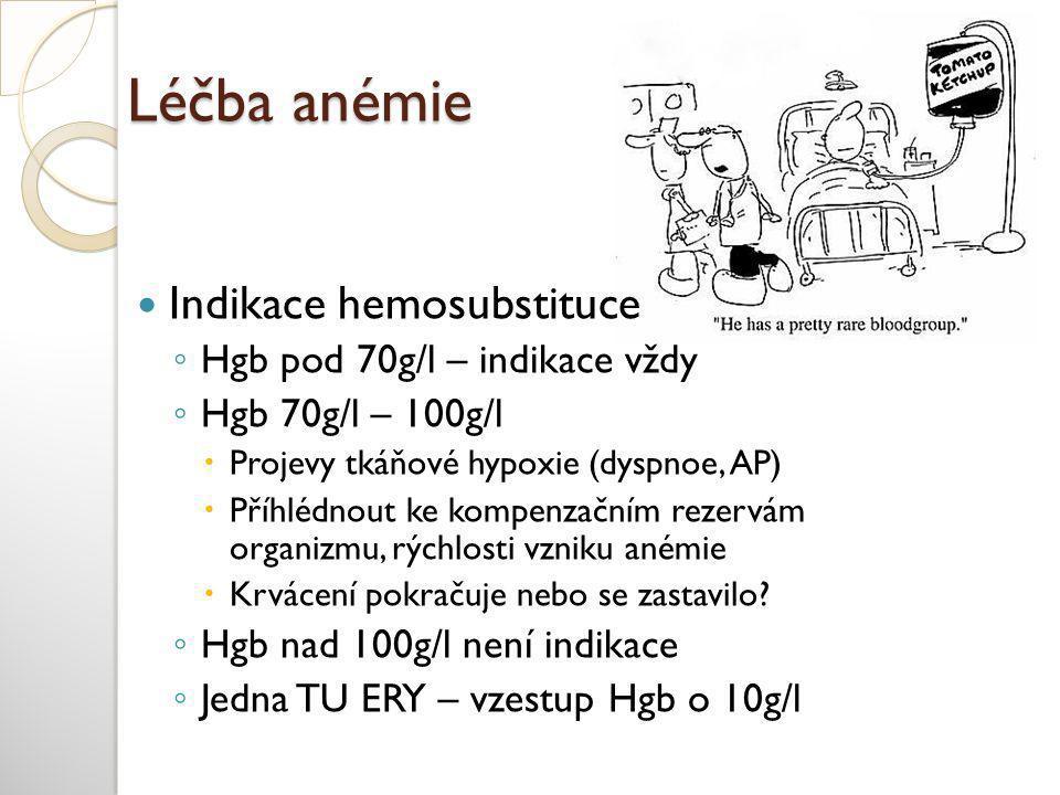 Léčba anémie Indikace hemosubstituce Hgb pod 70g/l – indikace vždy