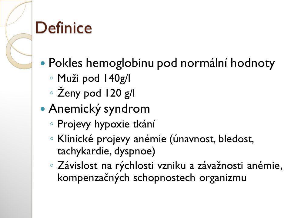 Definice Pokles hemoglobinu pod normální hodnoty Anemický syndrom