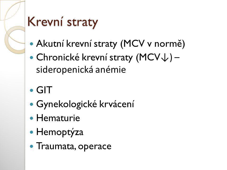 Krevní straty Akutní krevní straty (MCV v normě)